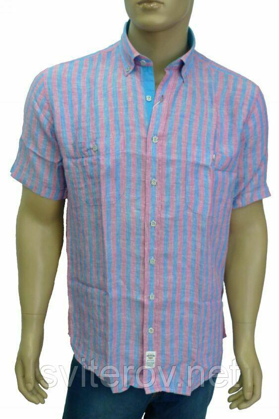 голубая льняная рубашка розовая полоска