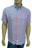 Голубая льняная рубашка в розовую полоску