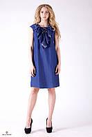 Джинсовое платье с рюшами и шнуровкой