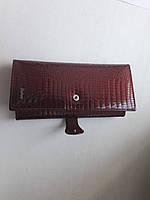 Женский кожаный кошелек бордовый , фото 1