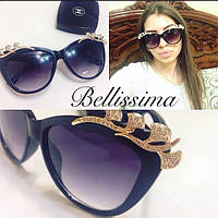 Женские красивые солнцезащитные очки с камнями на оправе n-716073
