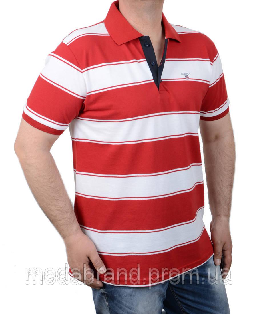 20bae1f0c9230 Футболка поло мужская в полоску Gant-(реплика)313 красная -