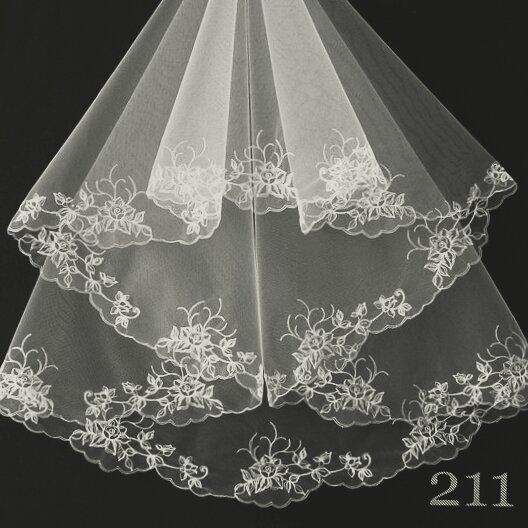 Свадебная Фата белая компьютерная вышивка (длина до пояса) СО-211