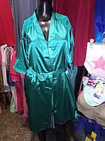 Атласный комплект (ночнушка с халатом), зеленая
