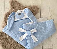 """Конверт-одеяло на выписку Лето """"Голубой зайка"""""""
