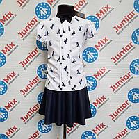 Блузка на девочку в бантики короткий рукав AGATKA