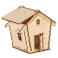 Сборная деревянная модель Мини домик (в сборе 12*12,5*10см.