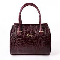 Женская сумка М50-37/38 бордовая текстура под крокодила жесткий деловой каркасный стиль