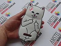Объемный 3D силиконовый чехол для ZTE Blade X3 / A452 Белый кот