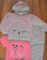 Спортивные трикотажные костюмы-троечки для девочек.Размеры 6/9-36 месяцев. Венгрия, фото 1