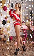 Шикарный раздельный женский купальник с завышенными плавками и воланом на лифе дайвинг сетка неопрен