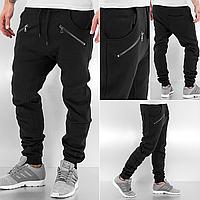 Утепленные спортивные черные штаны