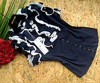 Блузка Рюши  13355 синий размер 44-48р