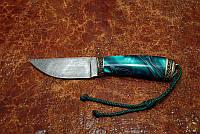 """Нож шкуросъемный ручной работы """"Персей"""", дамасск (наличие уточняйте)"""
