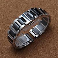 Браслет для часов стальной с керамическими звеньями, литой, полированный (глянец). 22 мм