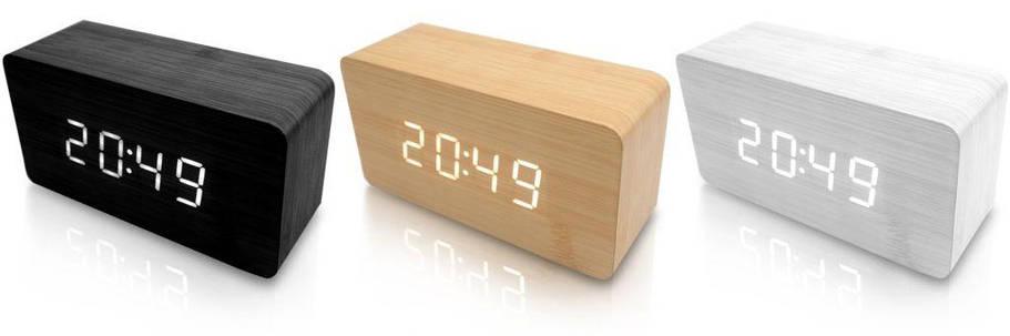 Деревянные часы-будильник с LED-дисплеем Wooden Clock , фото 2