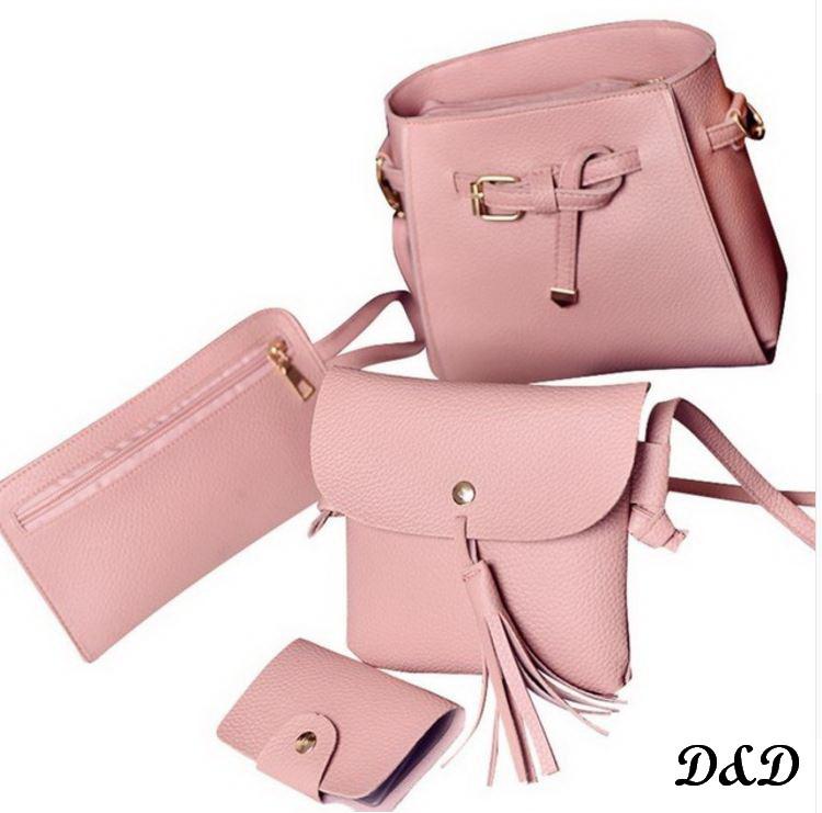 Набор женских сумок пудровый