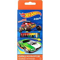 Олівці кольорові двосторонні 12шт. Hot Wheels Kite HW17-054