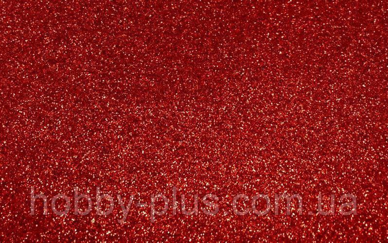 Фоамиран глиттерный 1,6 мм, 20x30 см, Китай, КРАСНЫЙ