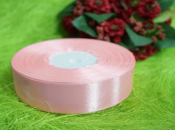 Лента атласная светло- розовая 20 мм, моток 33 м., фото 2