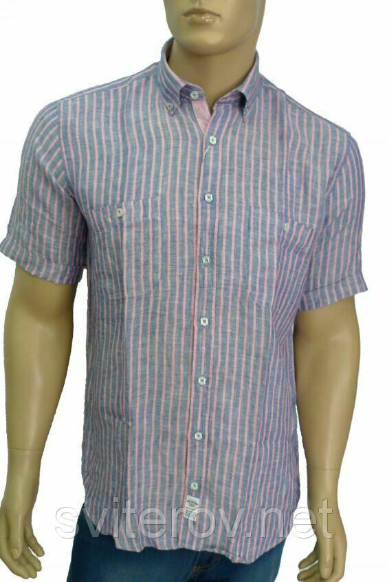 синяя льняная рубашка розовая полоска