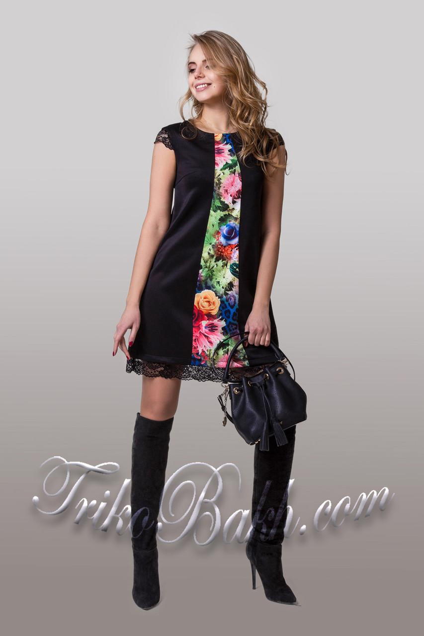 dad6d1466d9 Летнее платье трапеция с цветочным принтом - оптово - розничный интернет -  магазин
