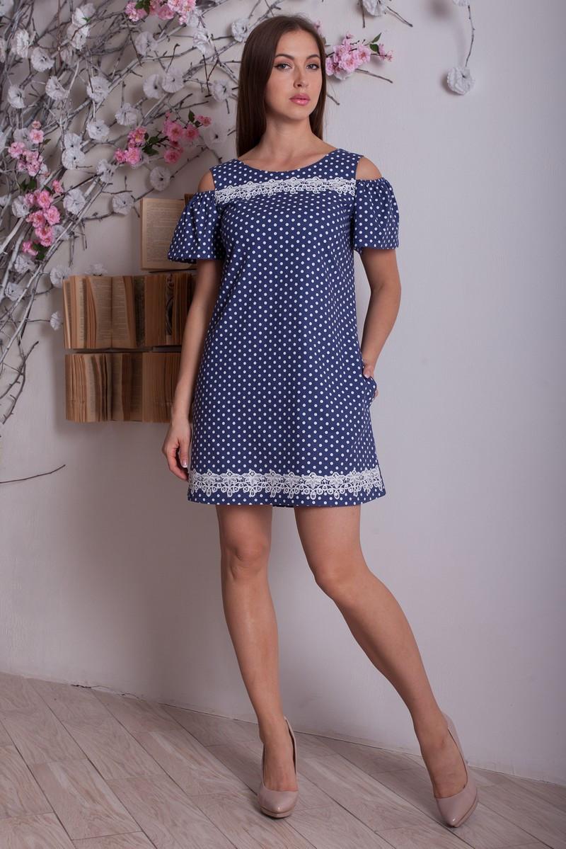 0e8096e4af03577 Короткое льняное платье в горошек - оптово - розничный интернет - магазин