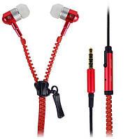 Вакуумные наушники на молнии Zipper с микрофоном красные