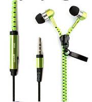 Вакуумные наушники на молнии Zipper с микрофоном зеленые