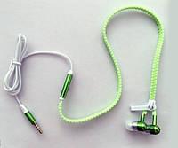 Светящиеся наушники на молнии Zipper с микрофоном зеленые