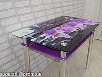 """Стол стеклянный с  фотопечатью """"Фиолетовая орхидея"""""""