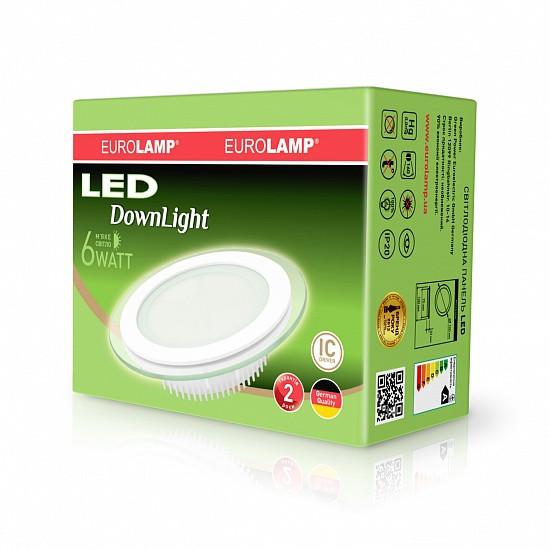 Светодиодный круглый врезной светильник EUROLAMP Downlight 6W 3000K (Стекло)