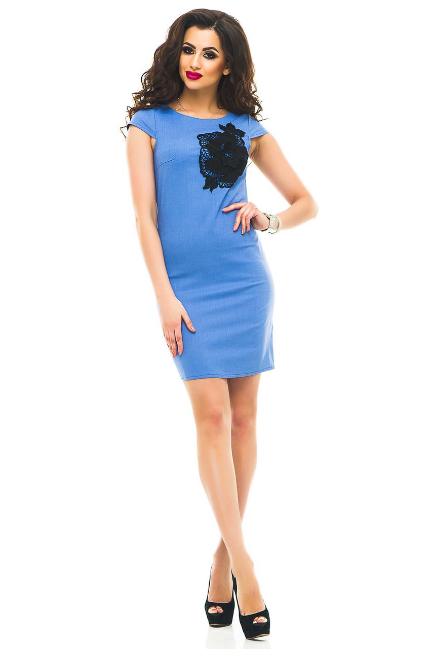 Платье 332 лен голубое размер 44