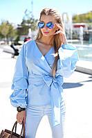 Нежная воздушная блуза с запахом на завязке, пышными драпированными рукавами.