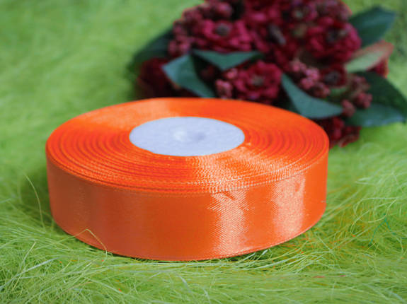 Лента атласная оранжевая 20 мм, моток 33 м., фото 2