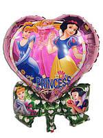 Фольгированный воздушный шарик сердце цветок Принцессы 50 х 63 см.