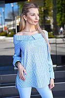 Элегантная блуза с большим воротником на плечи в итальянском стиле. Принт-полоска.