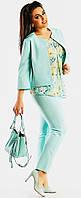 Модный женский костюм с жакетом свободного фасона и прямыми брюками стрейч котюмка батал