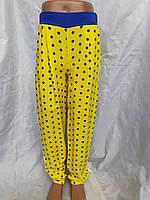 Летние брюки на девочку желтые в горох