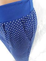 Летние брюки на девочку синие в горох