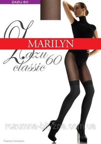 Marilyn ZAZU Classic 60den Колготки з имитацією панчох чорного кольору Розмір 3/4, 1/2