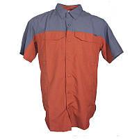 Мужская сорочка Columbia SILVER RIDGE™ COLOR BLOCK SHORT SLEEVE SHIRT сине-терракотовая XM0190 808