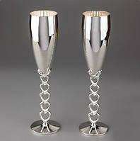 """Свадебные бокалы для молодоженов """"Серебряные сердечки"""""""