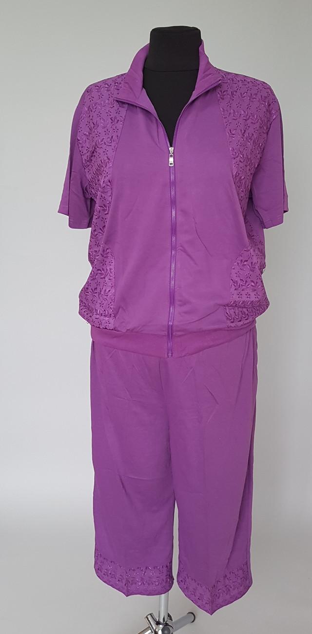 фотография летний женский костюм с бриджами сиреневого цвета