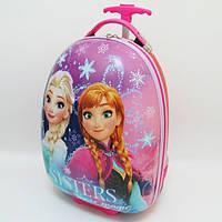 """Чемодан детский дорожный размер 16 """"Frozen"""" пластиковый на 2 колесах 0972-3"""