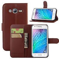 Чехол IETP для Samsung Galaxy J7 Neo / J701 книжка кожа PU коричневый