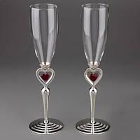 """Свадебные бокалы """"Пылающие сердца""""/ Красные сердечки"""