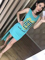 Оригинальное женское платье - туника (фабричный Китай, хлопок, ассиметричный низ, без рукавов) РАЗНЫЕ ЦВЕТА!
