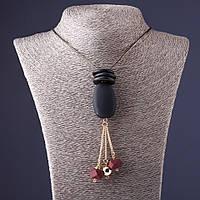 Ожерелье Пудра овал черный с  бордо на тонкой цепочке L-70см