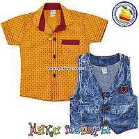 Рубашка и джинсовая жилетка для мальчика от 1 до 4 лет (5354-1)